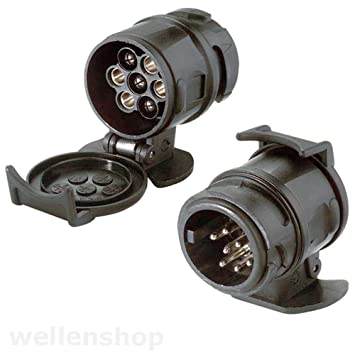 wellenshop Anhängerstecker Adapter 13 auf 7 Pole: Amazon.de: Sport ...