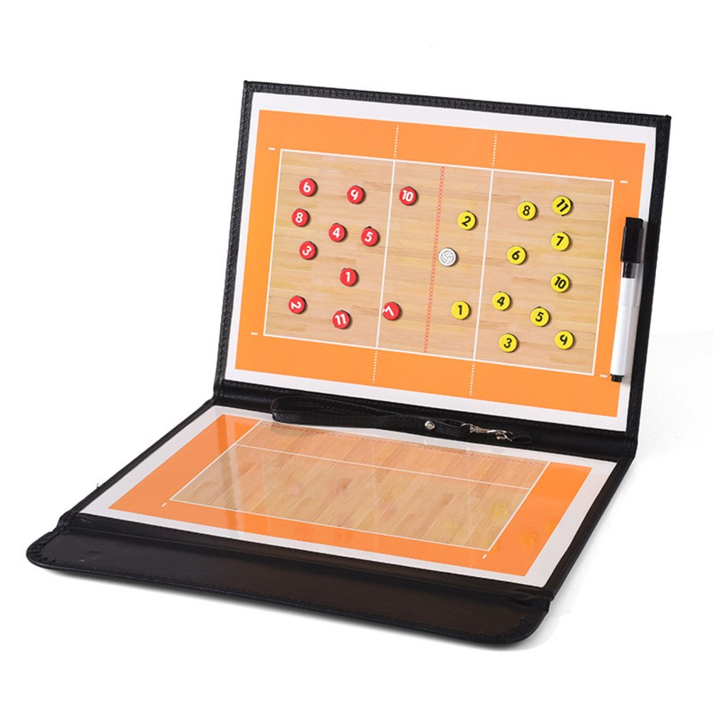 jiele Basketball Coaching Board Coaches Clipboard Tactical Magnetic Board Kit With Dry Erase, Marker Pen and Zipper Bag,PU Leather Cover,Lightweight and Portable 180629