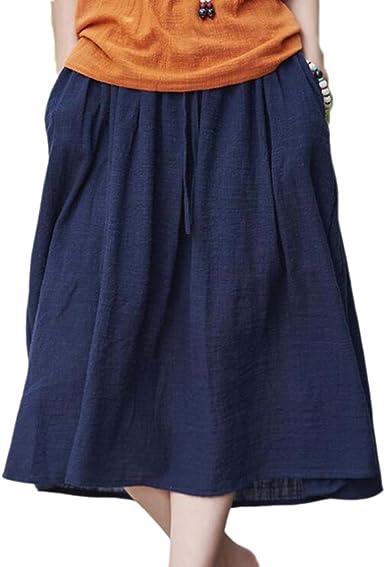 Falda de Estilo Chino Casual para Mujer - Falda Larga de algodón ...