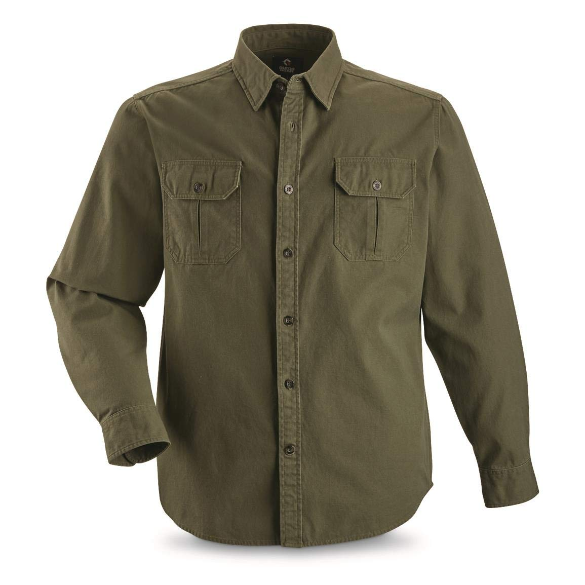 Guide Gear Men's Long-Sleeve Canvas Shirt, Olive, 2XL
