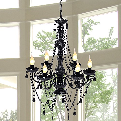Tangkula Chandelier Ceiling Lighting 6 Light Crystal Pendant Lamp Fixture (Crystal Pendant Lamp)