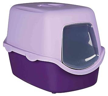TRIXIE Bandeja Higiénica Arenero Gatos - Bandeja Sanitaria Gatera Arenero Cubierto Caja De Arena WC Gatos Vico 40 x 40 x 56 cm Púrpura Lila