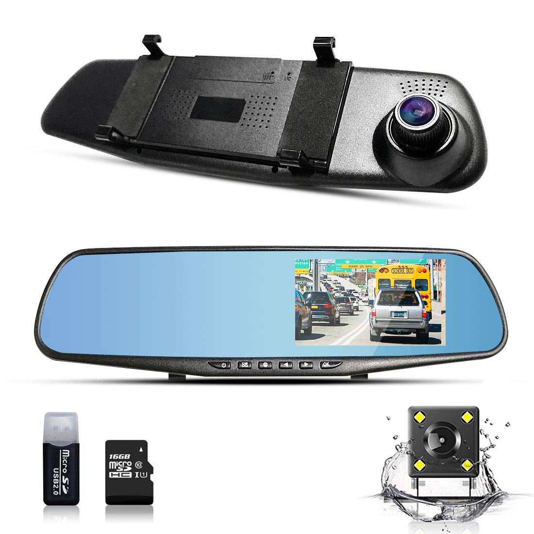 BLUEPUPILE® 1080P Dash Cam FHD Dashboard Camera Recorder Dual Lenses Mirror Driving Recorder with 170° Ultra-Wide Angle and 4.3' TFT Screen Support G-sensor 16GB TF Card Included