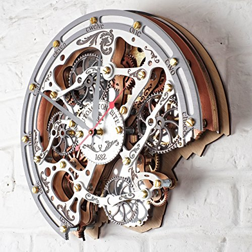 Automaton Bite 1682 White HANDCRAFTED moving gears wall clock by WOODANDROOT transparent steampunk wall clock, unique, personalized gifts, anniversary gift, large wall clock, home decor by WOODANDROOT (Image #6)