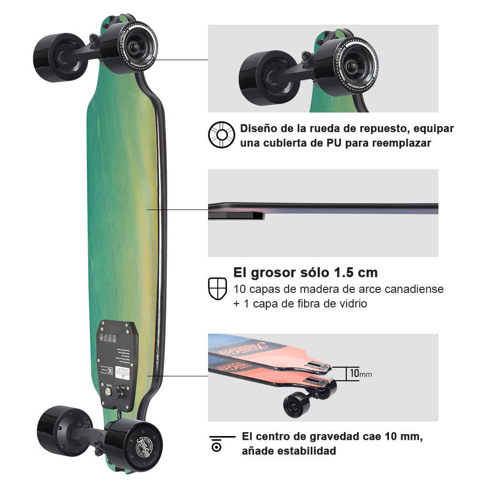 Tres Velocidades Ajustables 16-25 km//h Peso 5.3 kg Motor de 480 Vatios Autonom/ía 12-15 km Teamgee H8 Skateboard El/éctrico Longboard para Adultos con Control Remoto