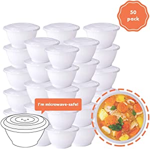 COZYMOOD 50-Pack Meal Prep Plastic Microwavable Food Containers Prepping Bowl With Lids 1 Compartment Reusable Storage Lunch Boxes BPA-Free Food Grade Freezer Dishwasher Microwave Safe, White 48 Oz