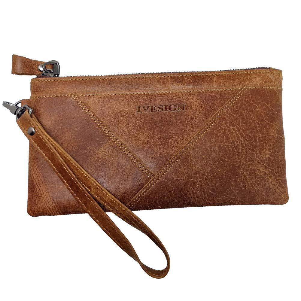 IVESIGN Womens Genuine Leather Wristlet Zipper Clutch Wallet RFID Blocking Credit Card Phone Holder Hand Purse Large Capacity