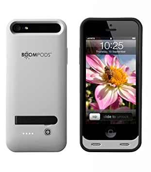 Boompods Powercase - Carcasa con batería para Apple iPhone 5/5S/5SE, color gris claro