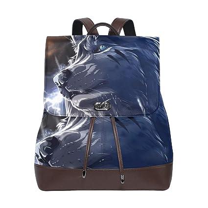 551c8980666e Amazon.com: Wolf Backpack PU Leather School Shoulder Bag Rucksack ...