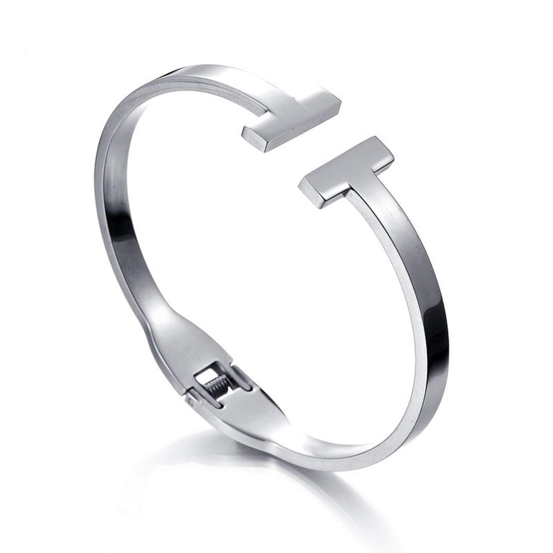 Designer Inspired Silver Titanium Steel T Open Cuff Spring Bangle Bracelet Unisex