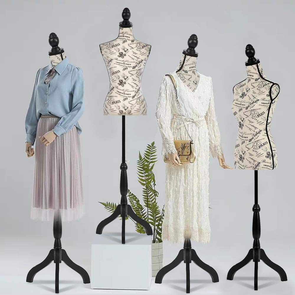 60-67 Inch 1 Pack Pinnable Mannequin Torso Female Monogram Style Dress Form with Stand for Display Dressmakers Mannequin Adjustable Manikin Body Tripod Stand