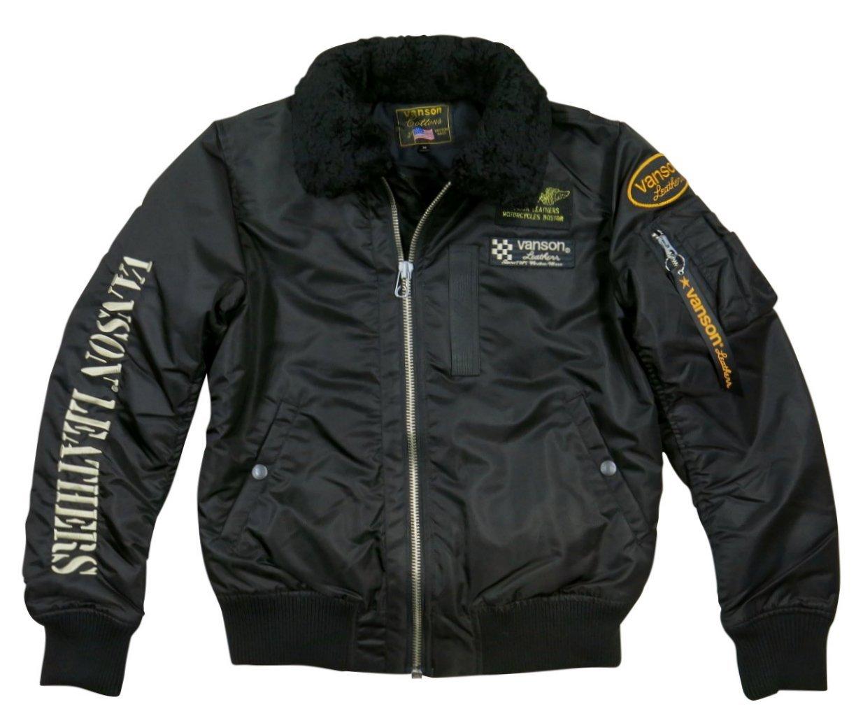 (バンソン)VANSON ムートン襟脱着 さがら刺繍 B-15 2WAY ミリタリー フライトジャケット B077FQ127N XXL|BLACK(ブラック) BLACK(ブラック) XXL