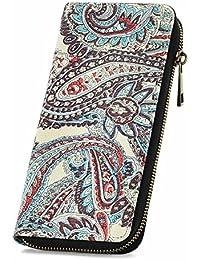 Womens Canvas Wallet Zipper Around Long Clutch Purse Wristlet Handbag