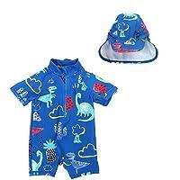 Digirlsor Baby Boys One Piece Swimsuit Dinosaur Rash Guard Shirt Short Sleeve Zipper Swimwear Bathing Suit with Hat