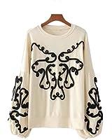 LovePurdue women string decorate sweatshirt long lantern sleeve oversized pullover lady loose chic tops casual wear