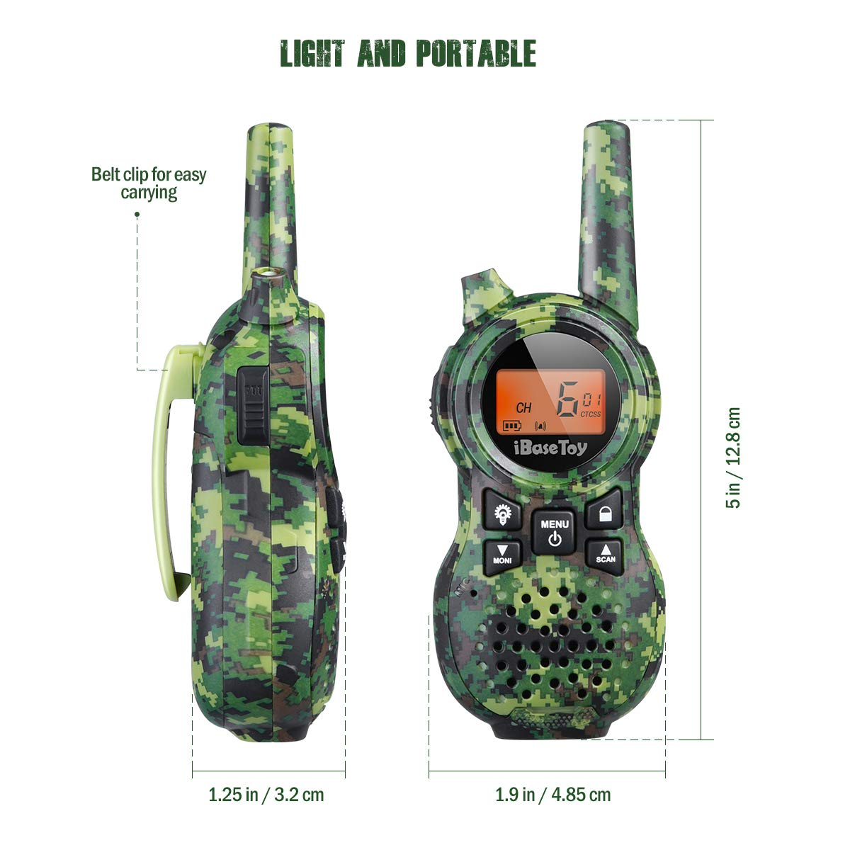 iBaseToy Walkie Talkies for Kids, Rechargeable Walkie Talkies with 22 Channels, 4-Miles Range Radio with Flashlight, LCD Screen and Charging line for Outdoor Adventures, Camping, Hiking - 2 Pack by iBaseToy (Image #7)