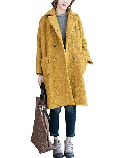 Youlee Damen Winter Falten Kragen zweireihigen Mantel