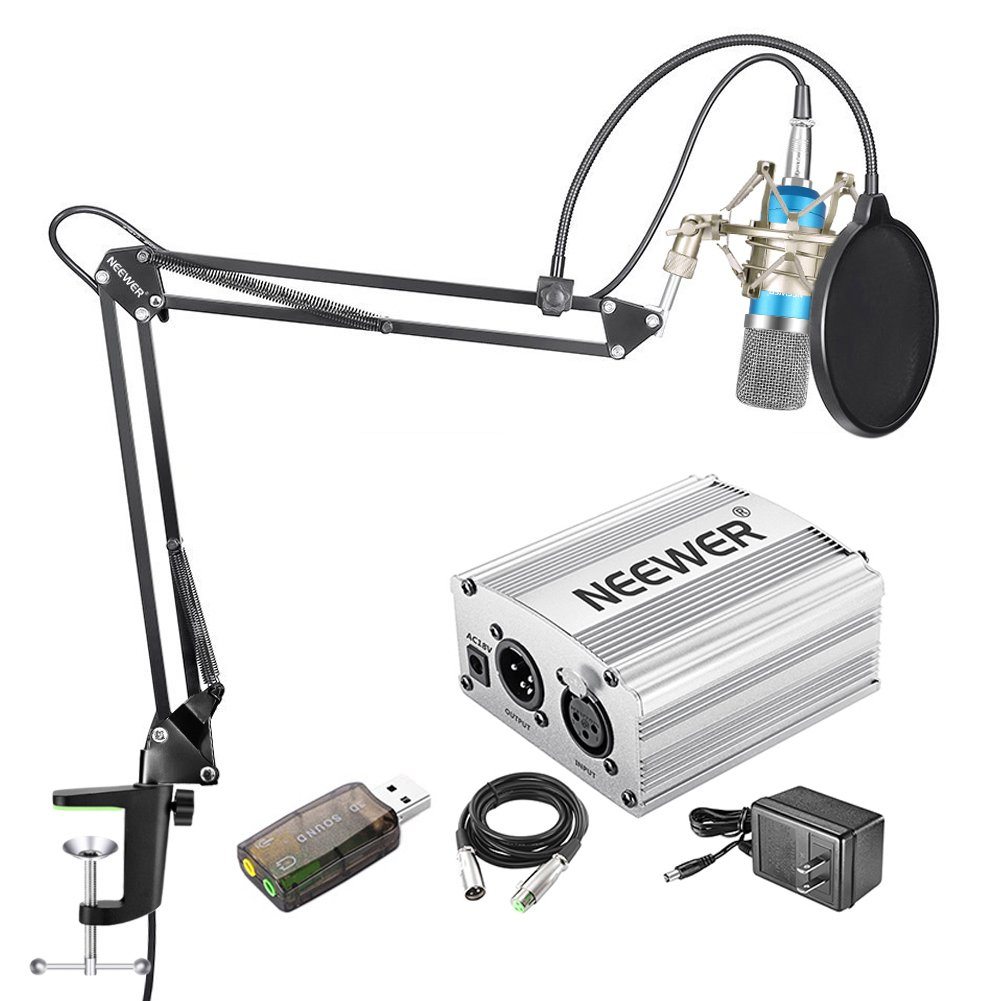 with Shock Mount, NW-35 Boom Scissor Arm Stand, 48V Silver Phantom Power Supply, XLR Cable, Pop Filter and Type-A USB External Stereo Sound Adapter Neewer 40093135