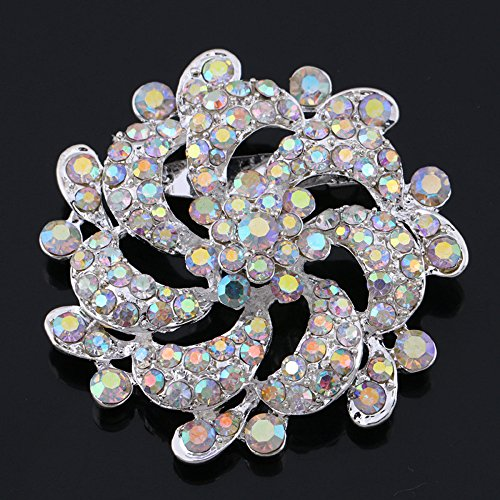 Brass Crystal Brooch - USIX Pack of 3 Floriated Round Rhinestone Crystal Brooch Pin for Dress, Suit, Sweater Embellishments, DIY Wedding Bouquet Cake Dress Corsage Boutonniere Decoration(230-Crystal ABx3)