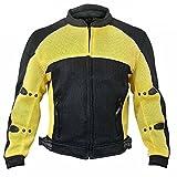 Xelement CF509 Mens Black/Yellow Armored Mesh Jacket - Medium