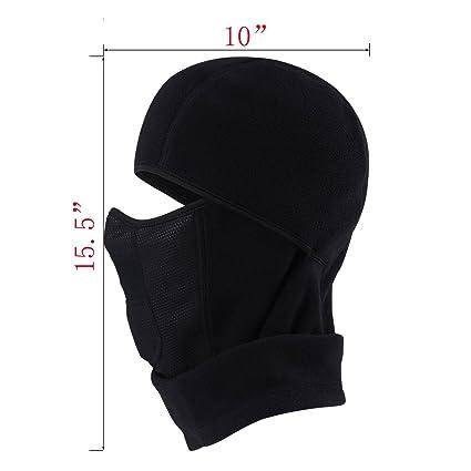 c48e924603e MIFULGOO Balaclava Fleece Hood with Neck Cover Half Face Ski Mask with Air  Hole QL-