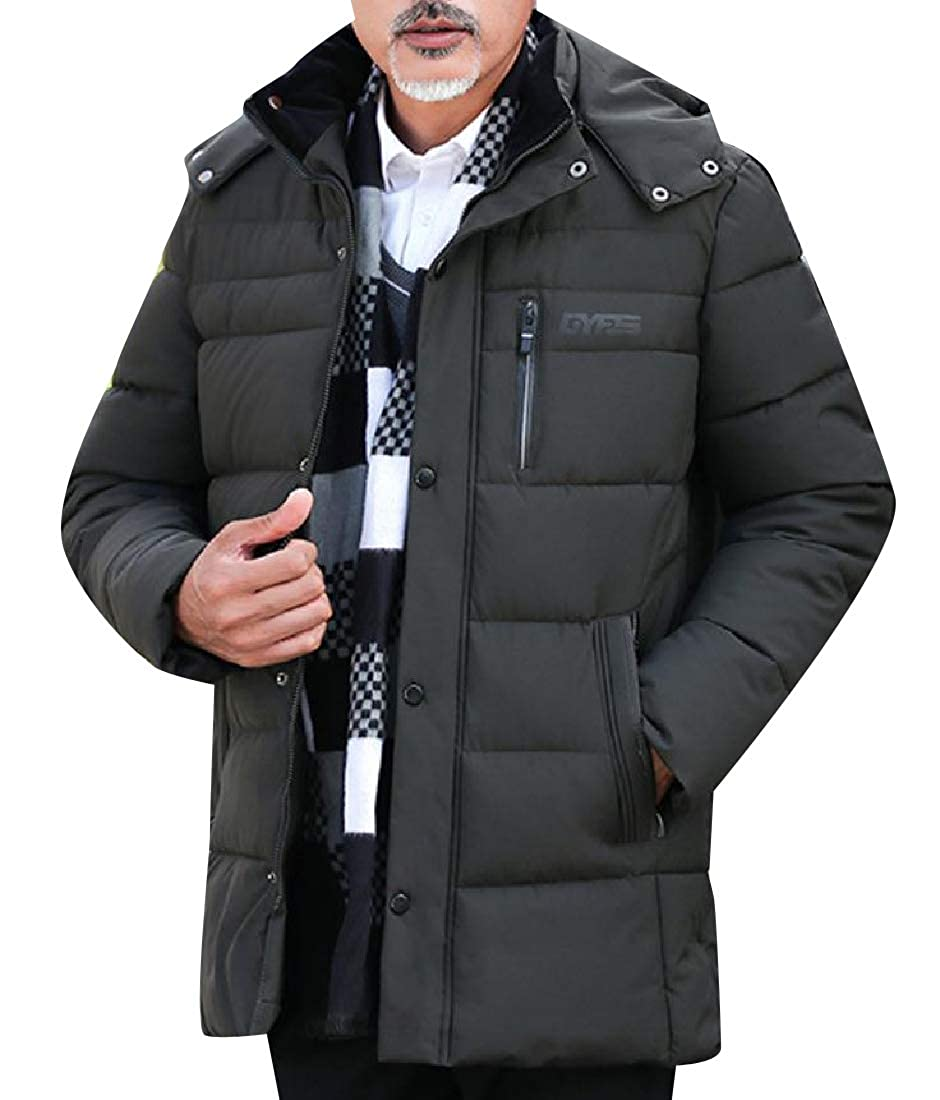 Zimaes-Men Water-Resistant Thigh-Length Big and Tall Puffer Jacket