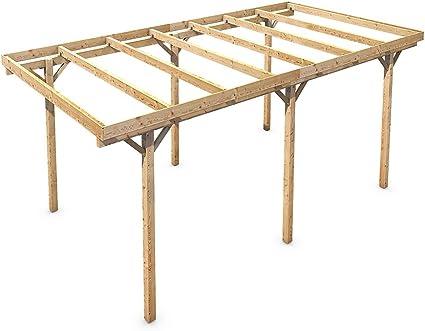 Madera CarPort tejado plano madera maciza Kvh pie 3000 x 6000 mm ...