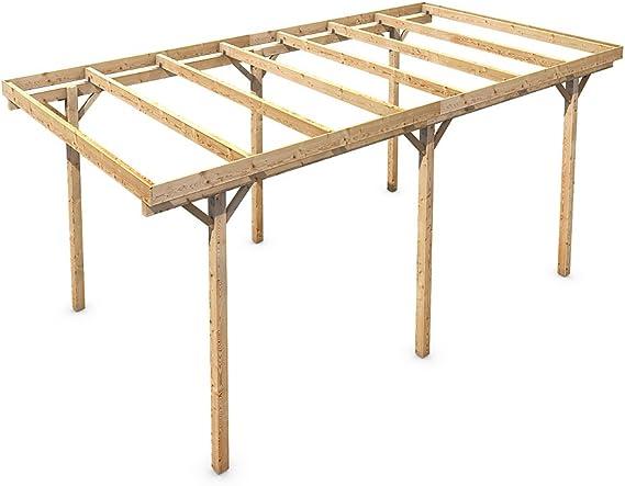 Madera CarPort tejado plano madera maciza Kvh pie 3000 x 6000 mm: Amazon.es: Coche y moto