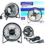 Brentwood Mini Fan Electric 4 Personal Desk Fan Black 4W Metal High