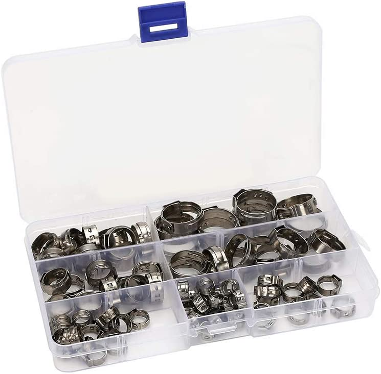 with Storage Case 7-21mm Adjustable Hose Pipe Clamp,Stainless Steel Single Ear Hose Clamps 85pcs Pipes Hose Clips