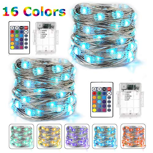BOHON LED Fairy Lights Battery Operated 2 Pack Multi Color Changing String Lights with Remote, 16 ft 50 LEDs Decorative Siler Wire Lights for Bedroom Wedding Party Indoor (RGB) ()