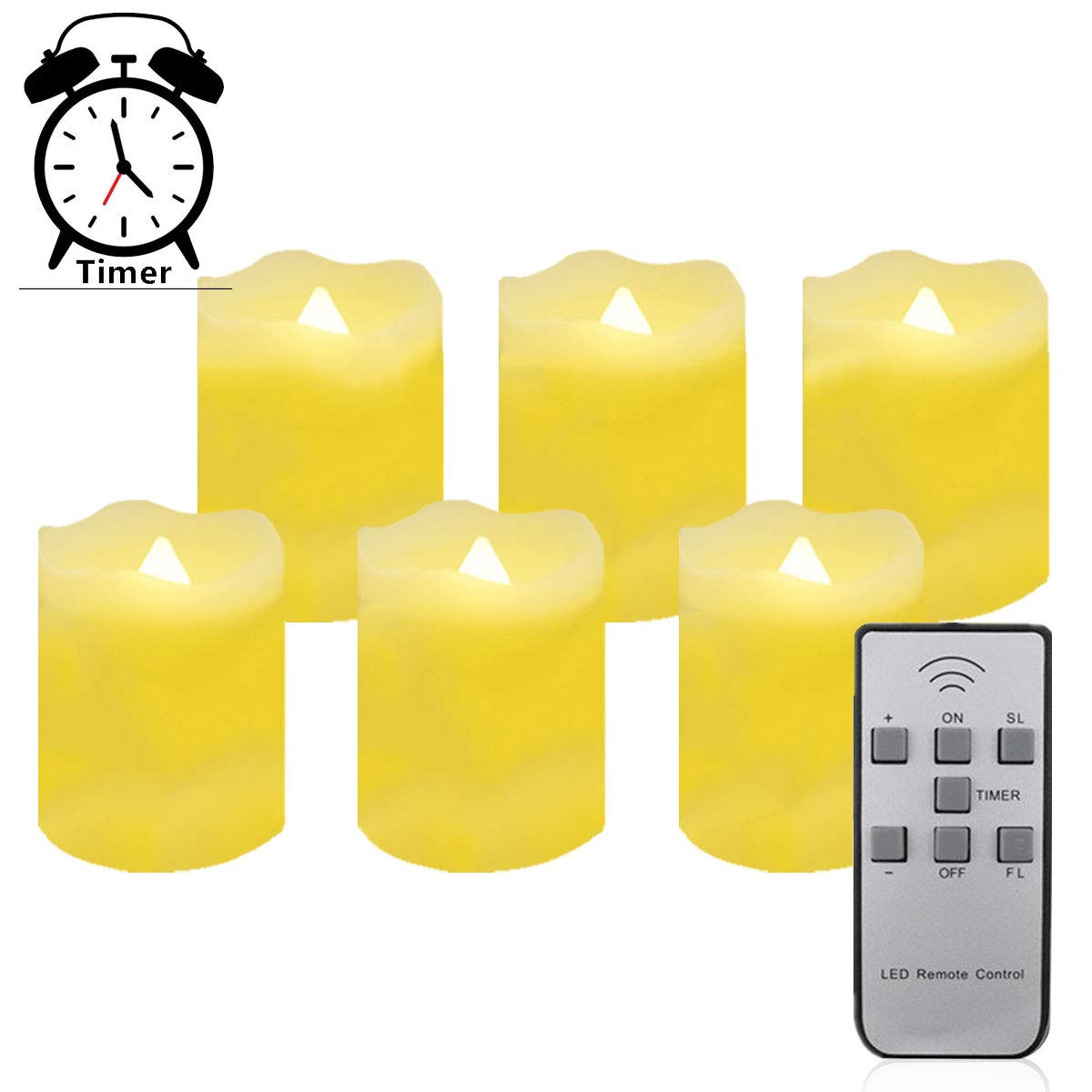 Timer LED Tea Lights Candles with Remote Control,Battery Operated Flicking Flameless Tealights Candle Bluk in Warm White for Wedding,Christmas and Birthday Party-6 Pack