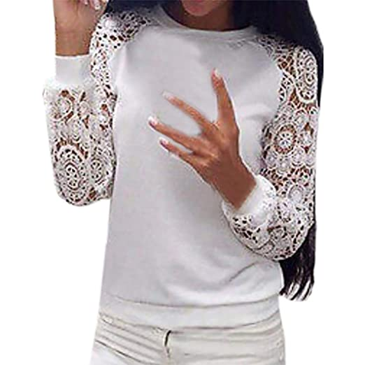 3d745d248 Realdo Clearance Sale, Fashion Womens Ladies Solid Lace Round Neck Long  Sleeve T-Shirt Tops Blouse(White, Small) at Amazon Women's Clothing store: