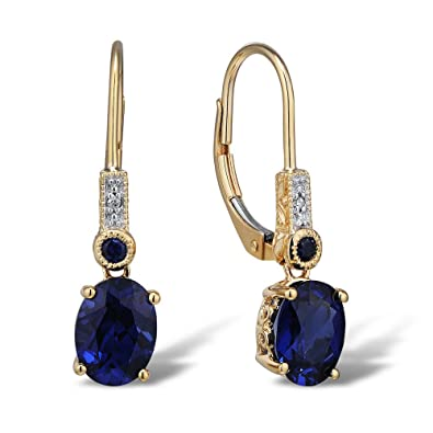 saphire with com earrings blue rhodium gold plating amazon sapphire engraving lab created in yellow filigree dp
