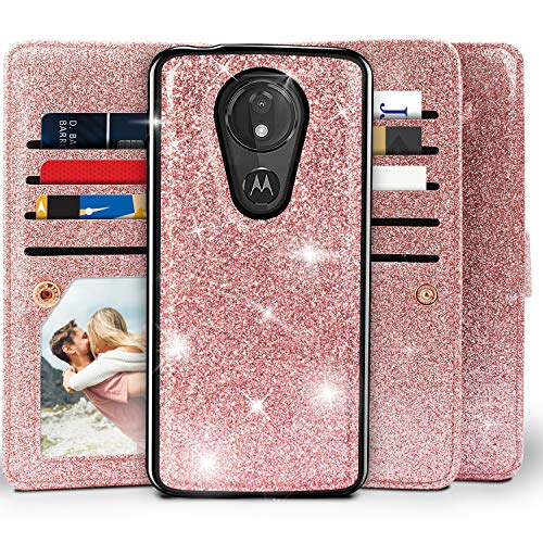 Moto G7 Power Wallet Case, Moto G7 Supra Case, Miss Arts Detachable Magnetic Slim Case with Car Mount Holder, 9 Card/Cash Slots, Wrist Strap, PU Leather Cover for Motorola Moto G7 Power -Rose Gold