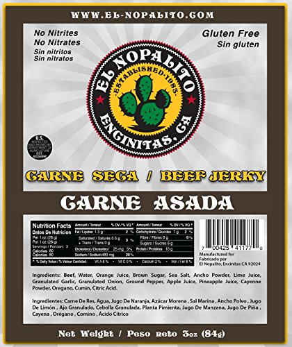 El Nopalito Beef Jerky - Cattle Sourced from CA - Gluten and Nitrate/Nitrite Free High Protein Snack - Made in the USA - Carne -