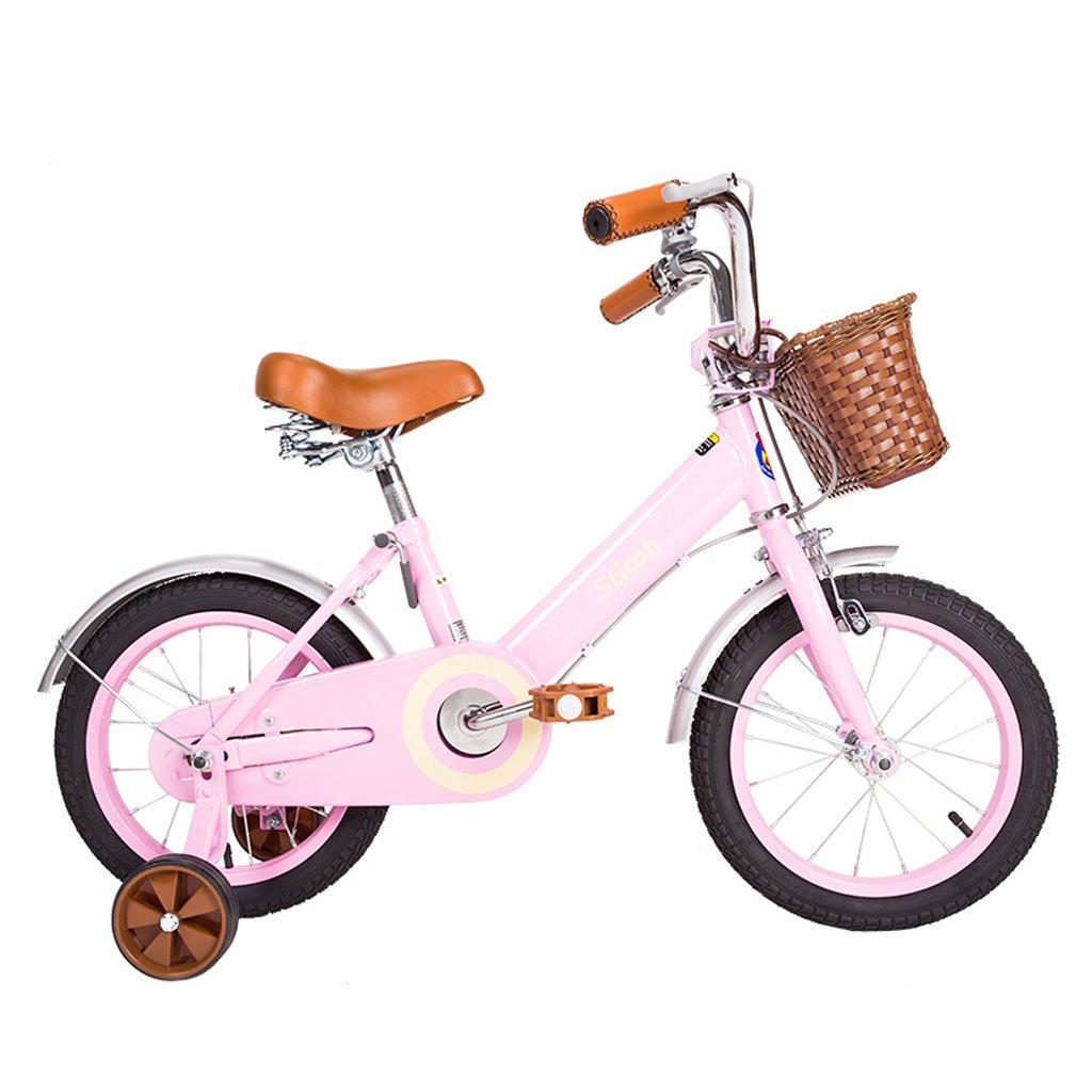 子供用自転車12/14/16/18インチガールバイク2-5/3-6/5-9/8-13歳ベビーキャリーハイカーボンスチール、ホワイト/ピンク (Color : 14 inch pink) B07D29FSR4