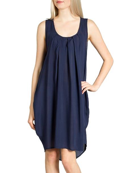 CASPAR SKL011 Vestido de Playa/Verano Ligero para Mujer, Color azul oscuro;Tamaño