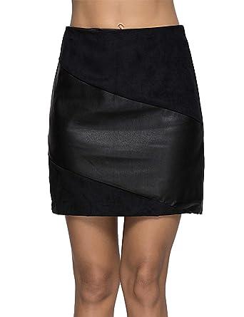 512a50f44f Escalier Women's PU Leather Skirt High Waist Mini A Line Skirts Black XS