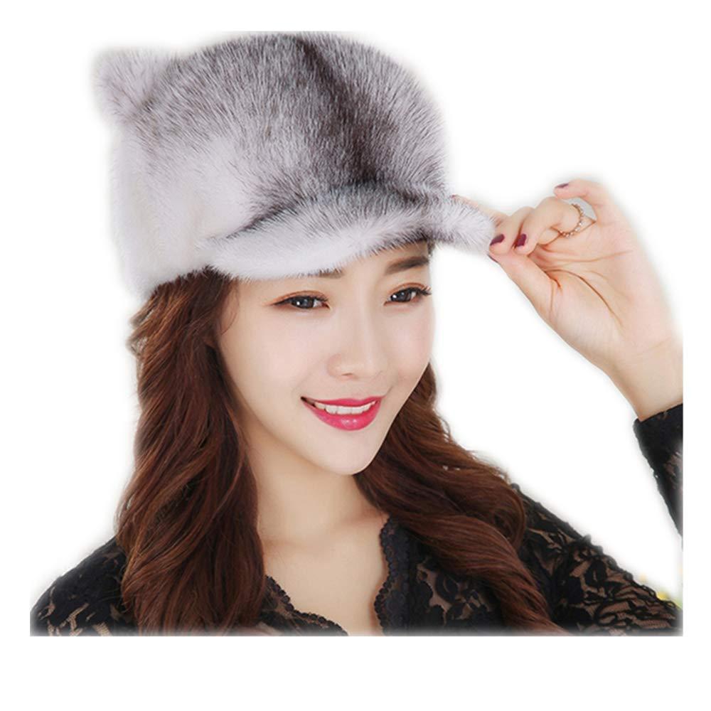 MH Bailment Women's Winter Real Fur Cap Fox Fur Genuine Leather Warm Cap Middle-Aged Old Wild Winter Warm hat (M, red Fox)