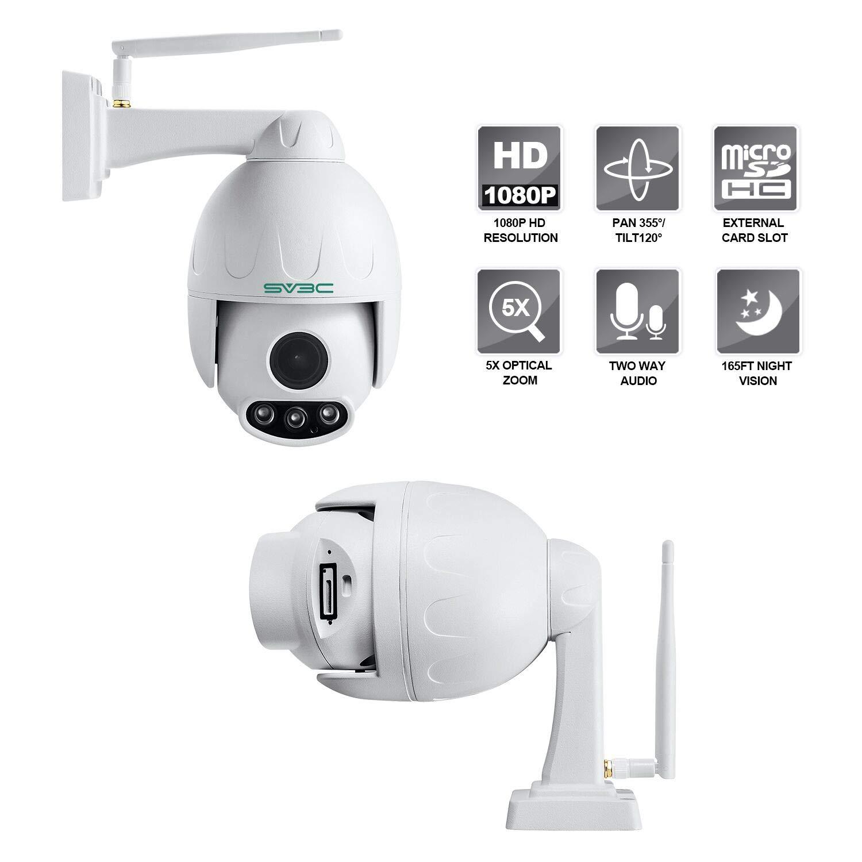 SV3C 1080P Outdoor PTZ WiFi Security Camera,Pan Tilt Zoom (5X Optical Zoom)  Wireless Surveillance CCTV IP Camera with Two Way Audio,IP66