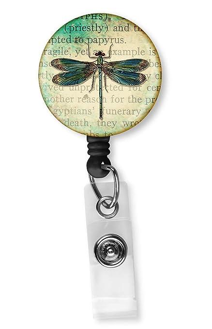 Retractable Badge Holder Dragonfly ID Badge Reel Clips Nurse Badge ID Teacher