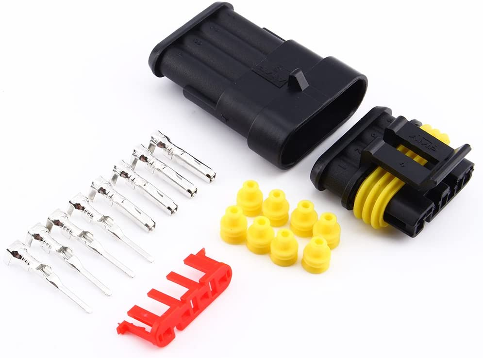 4 Pin Way Waterproof Electrical Wire Connector Plug 1.5mm Terminals Heat Shrink Quick Locking Wire Harness Sockets for Auto Motorcycle Car Truck