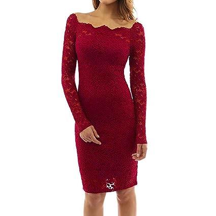 Vestido de fiesta de manga larga de noche encaje de las mujeres Vintage Fuera del hombro Dress Blouse Top By DoraMe (Rojo, M): Amazon.es: Iluminación