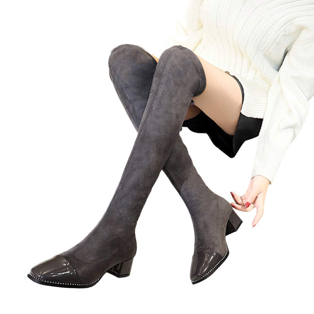 Vibola Women Boots, Lace-Up Round Toe Knee-High Boots High Heels Martin Shoes Vibola®