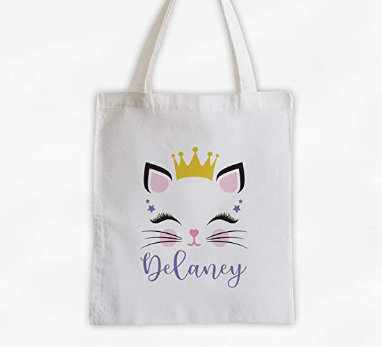 9290d3536 Amazon.com: Kitty with Crown Kids Tote Bag - Personalized Cat Face Cotton  Overnight Bag for Girls or Boys (3048-C4): Handmade