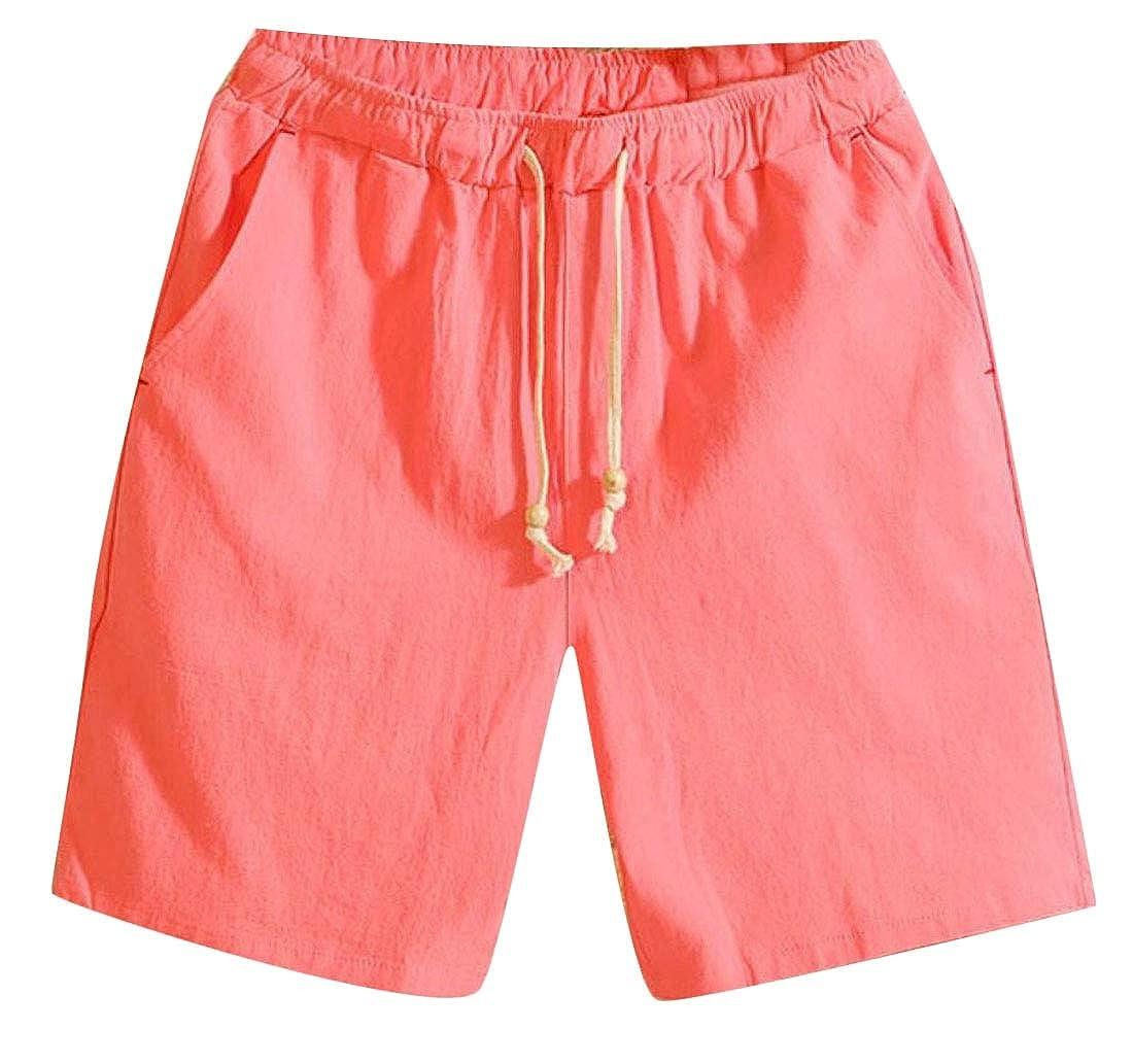 omniscient Men Classic Fit Shorts Drawstring Summer Beach Shorts with Elastic Waist