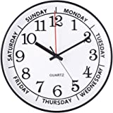 """JOMPARIS 14"""" Day of the Week Clock Large Decorative Battery Operated Round Wall Clock,Easy to Read Office/School/Home Clock(Black Color)"""
