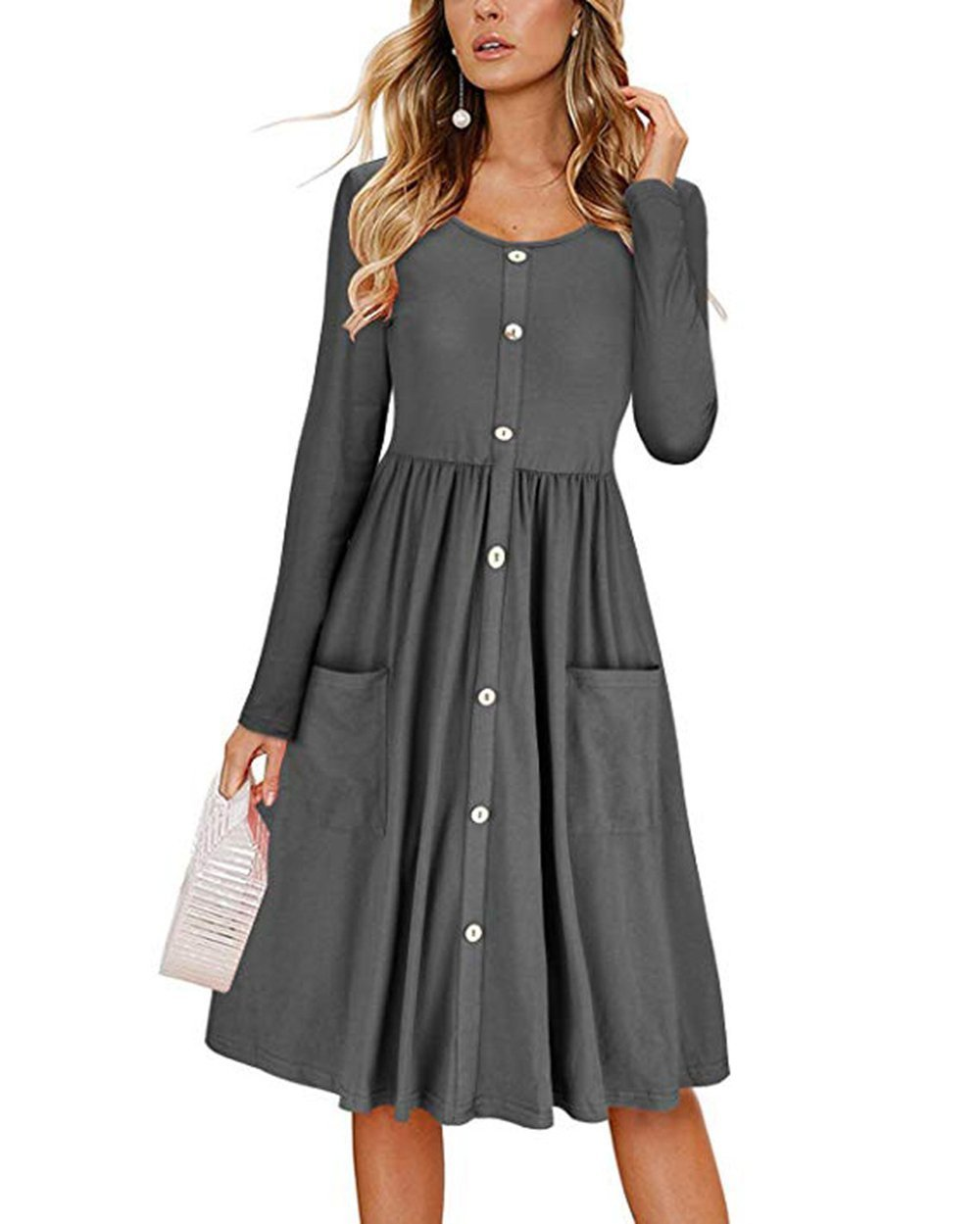 Barlver Women Casual Basic Long Sleeve T-Shirts Dress Crew Neck Button Down Swing Midi Dress with Pockets Crew Neck-Grey 8-10