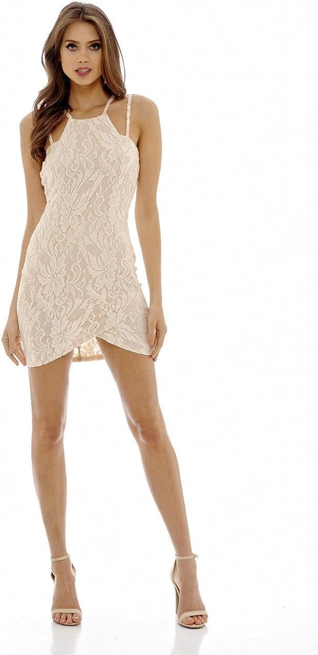AX Paris Womens Multi Strap Lace Overlay Bodycon